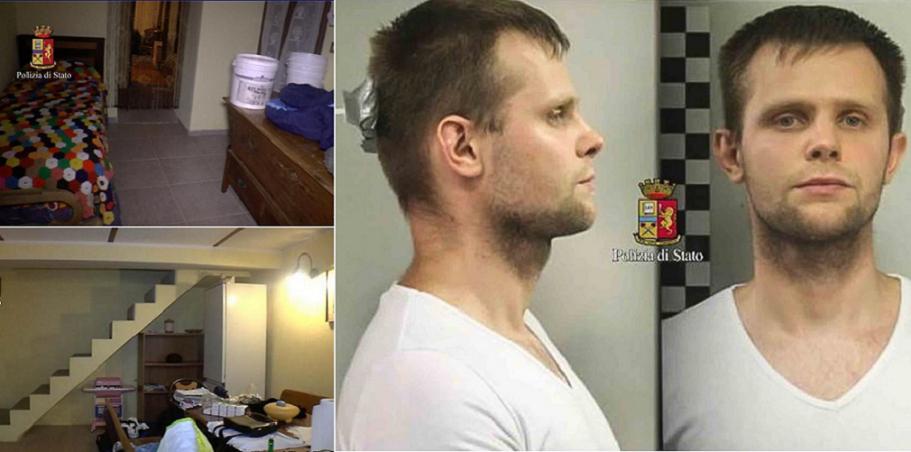 صورتان للخاطف لوكاش هيربا، واثنتان من داخل البيت الذي كانت محتجزة فيه قرب الحدود الفرنسية