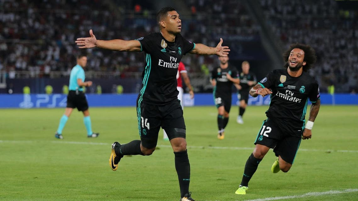 Soccer Football - Real Madrid v Manchester United - Super Cup Final - Skopje, Macedonia - August 8, 2017 Real Madrid's Casemiro celebrates scoring their first goal REUTERS/Eddie Keogh