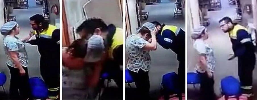 الطبيب الذي لم يكن يعلم بوجود كاميرا مراقبة في ممر المركز الطبي، عضها بأذنها وهددها همسا
