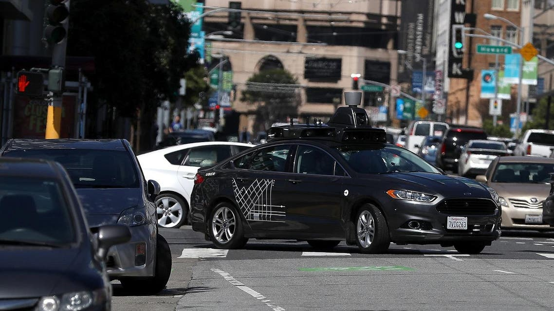 An Uber self-driving car drives down 5th Street on March 28, 2017 in San Francisco. (AFP)