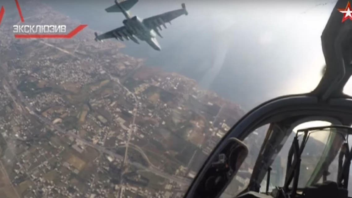 Russian channel Zvezda aired footage of two pilots flying a Su-25 military aircraft in Syrian airspace. (Screengrab)