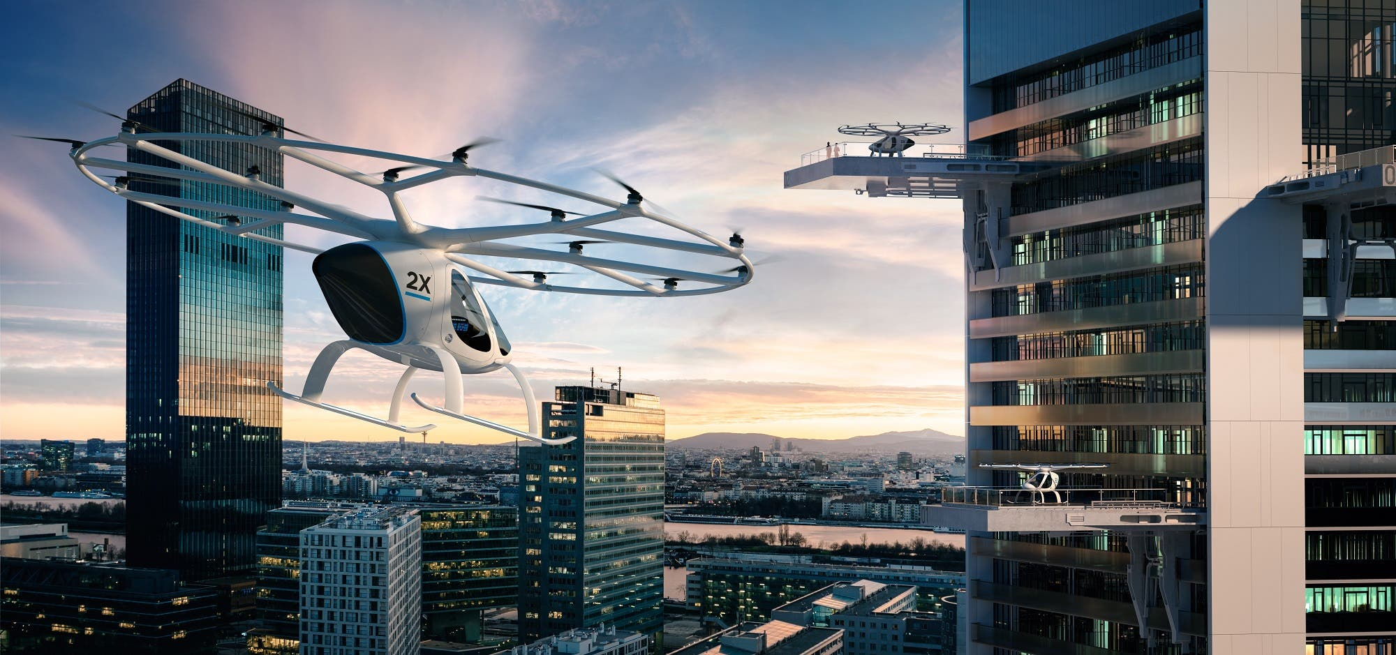 The Volocopter will be power4d by clean electricity. (Courtesy: Volocopter)