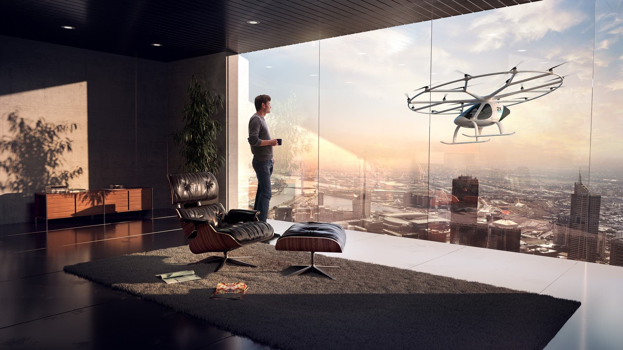 The autonomous air taxi will have a reduuced noise system. (Courtesy: Volocopter)