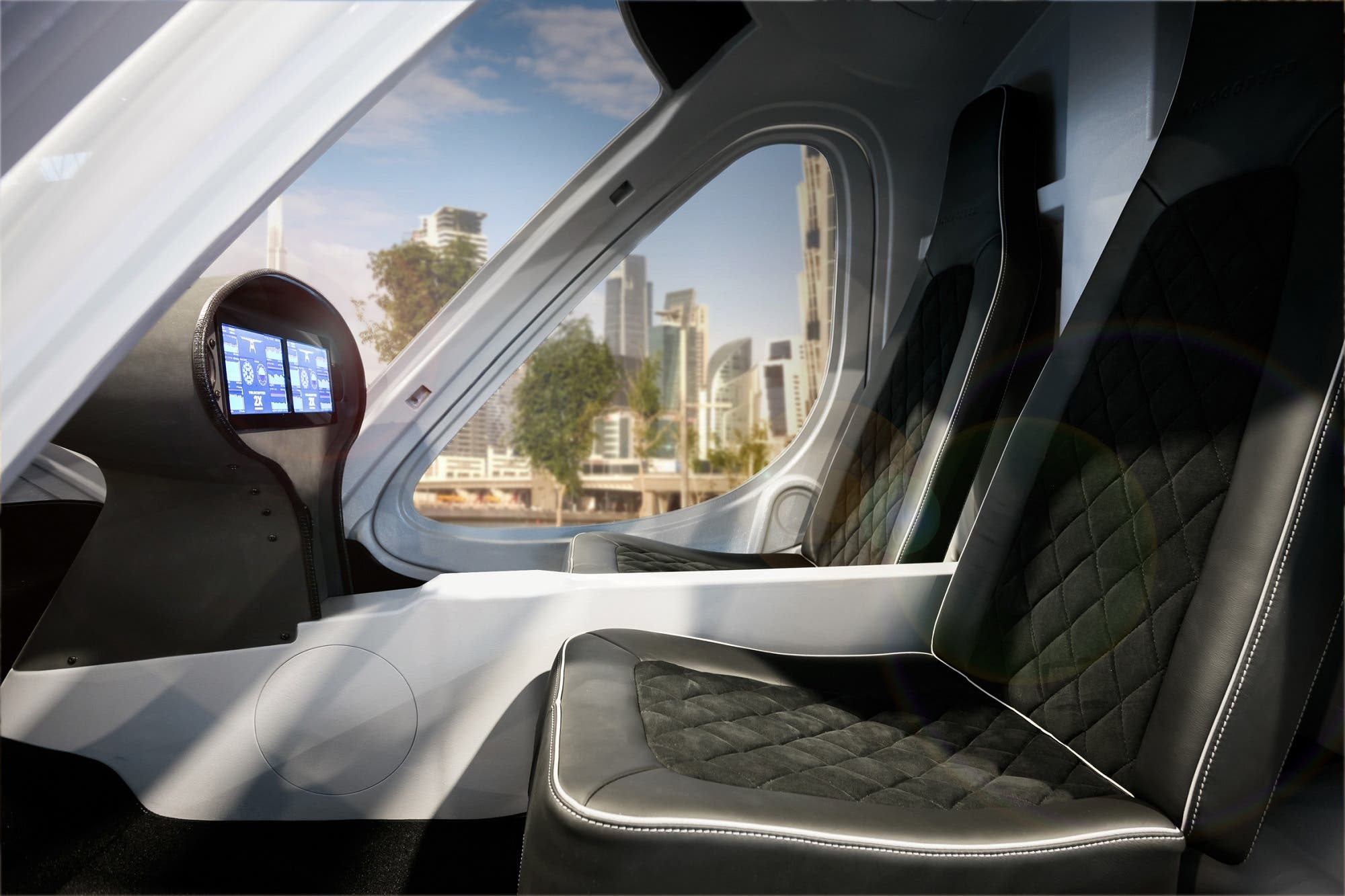 The Volocopter autonomous air taxi luxury interior. (Courtesy: Volocopter)