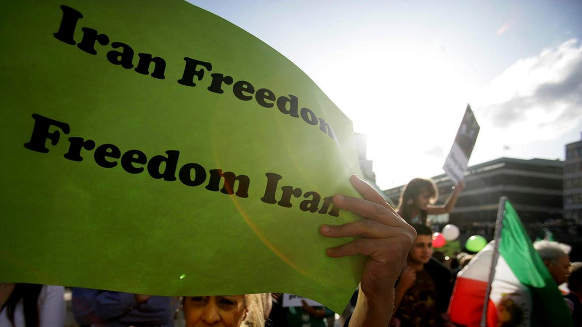 Protesters take part in a rally against the Iranian regime and to demand the release of all political prisoners. (Reuters)