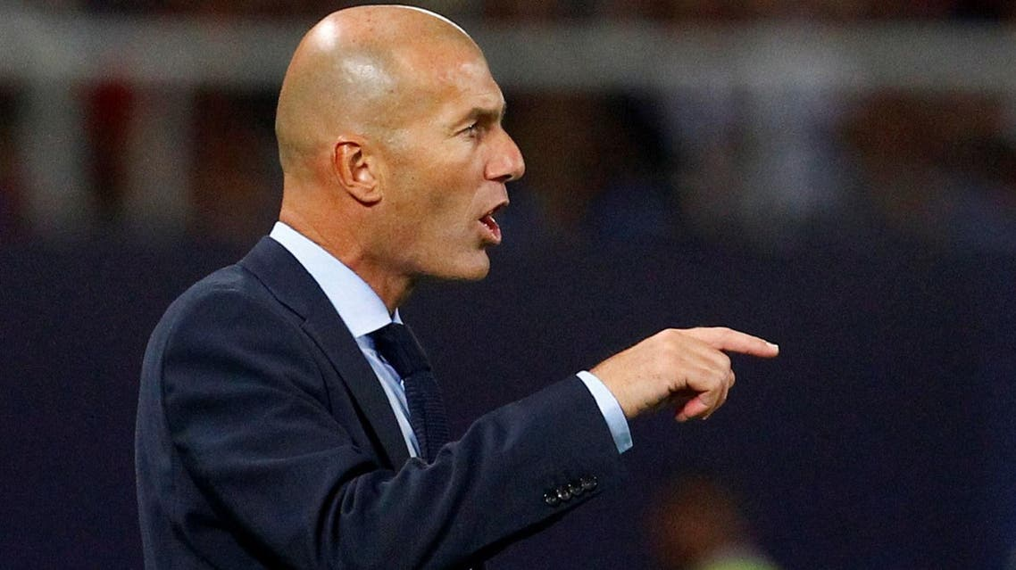Real Madrid coach Zinedine Zidane at the Super Cup final  against Manchester United in Skopje, Macedonia on August 8, 2017.(Reuters)