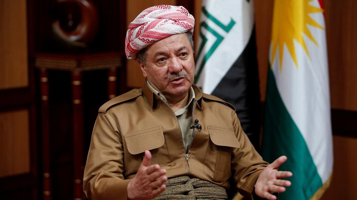 Iraq's Kurdistan region's President Massoud Barzani speaks during an interview with Reuters in Erbil, Iraq July 6, 2017. (Reuters)