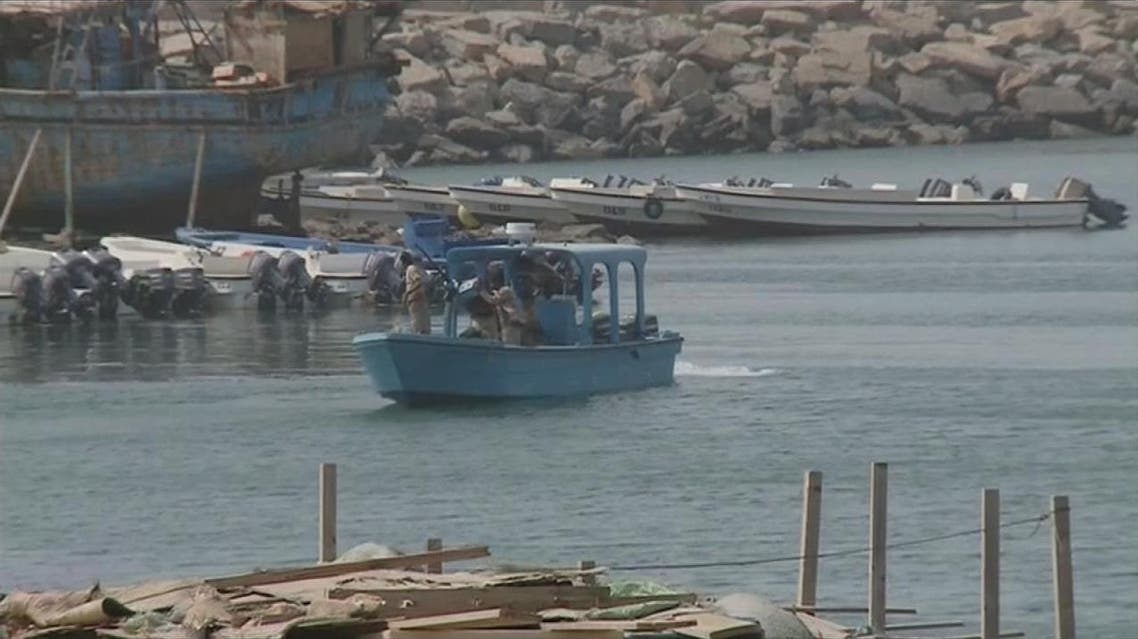 Arab coalition forces destroyed at dawn on Saturday, a booby-trapped boat in Al-Mokha port. (Supplied)