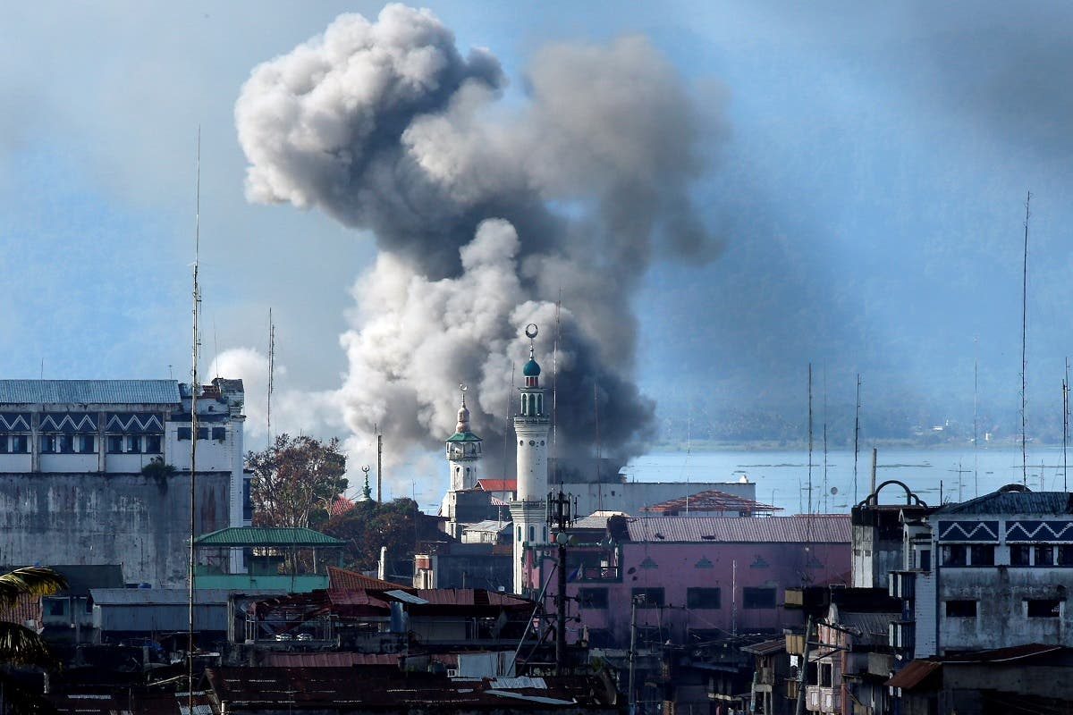 An explosion is seen after a Philippines army aircraft released a bomb during an airstrike in Marawi city. (Reuters)