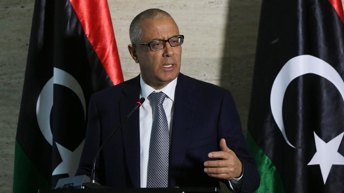 Libya's Prime Minister Ali Zeidan speaks during a press conference on March 8, 2014 in the capital, Tripoli. Libya threatened to bomb a North Korean-flagged tanker at an oil terminal in the restive east if it does not leave, saying it was loading illegally. AFP PHOTO / MAHMUD TURKIA