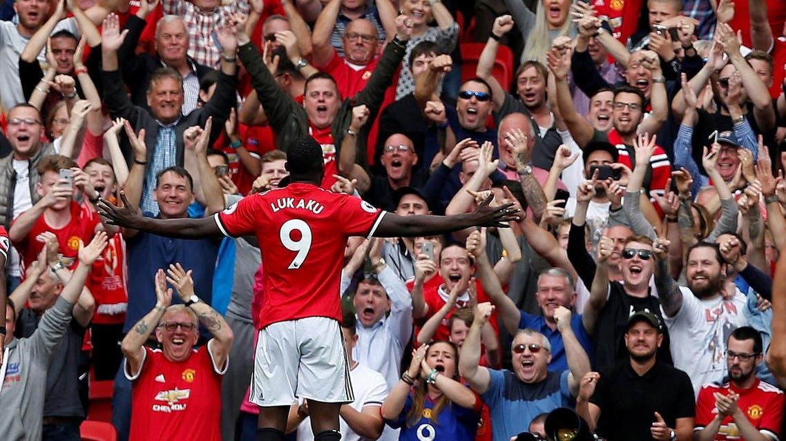 Manchester United's Romelu Lukaku celebrates scoring their second goal REUTERS