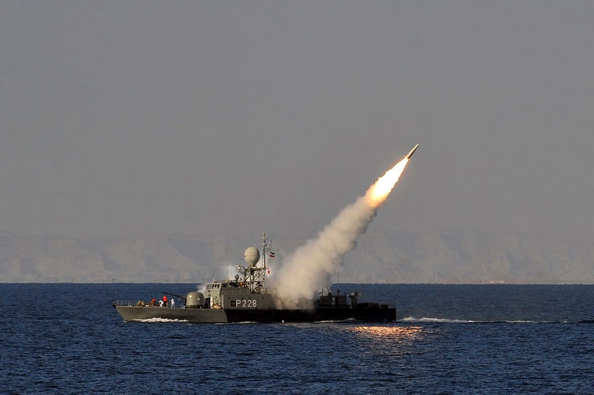 Iranian Navy ship during exercises at the Gulf of Oman in 2012 (AP)