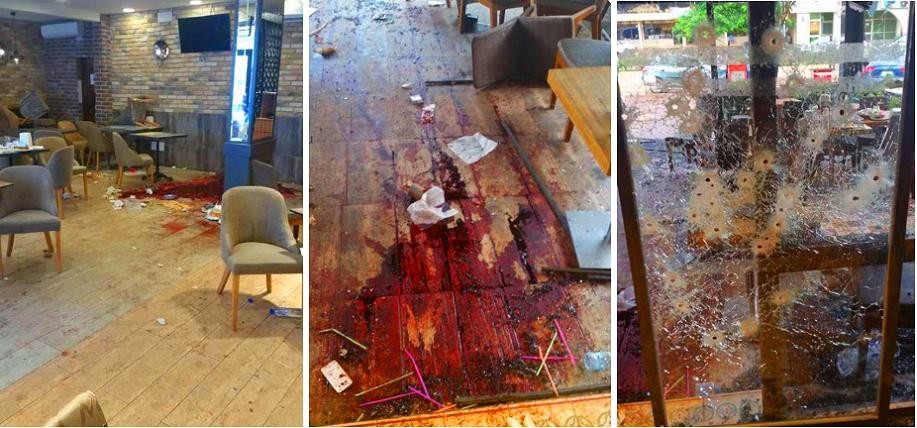 ثلاث صور لدماء وخراب تركه الارهابيان بمطعم عزيز اسطنبول في واغادوغو