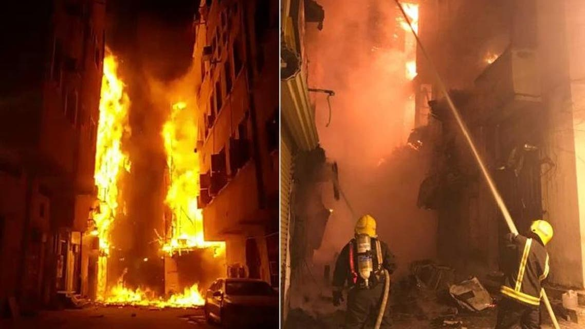 Occupants of the buildings were evacuated as Civil Defense firefighters contained 80 percent of the fire at around 10 p.m. (Supplied)