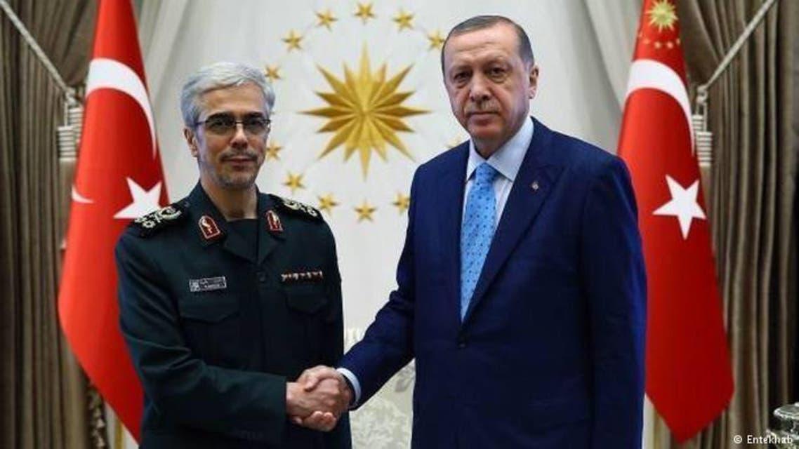 الرئيس التركي رجب طيب اردوغان ورئيس الأركان الايراني محمد باقري