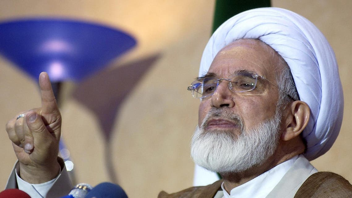 Mehdi Karroubi during a news conference in Tehran on June 21, 2005. (AP)