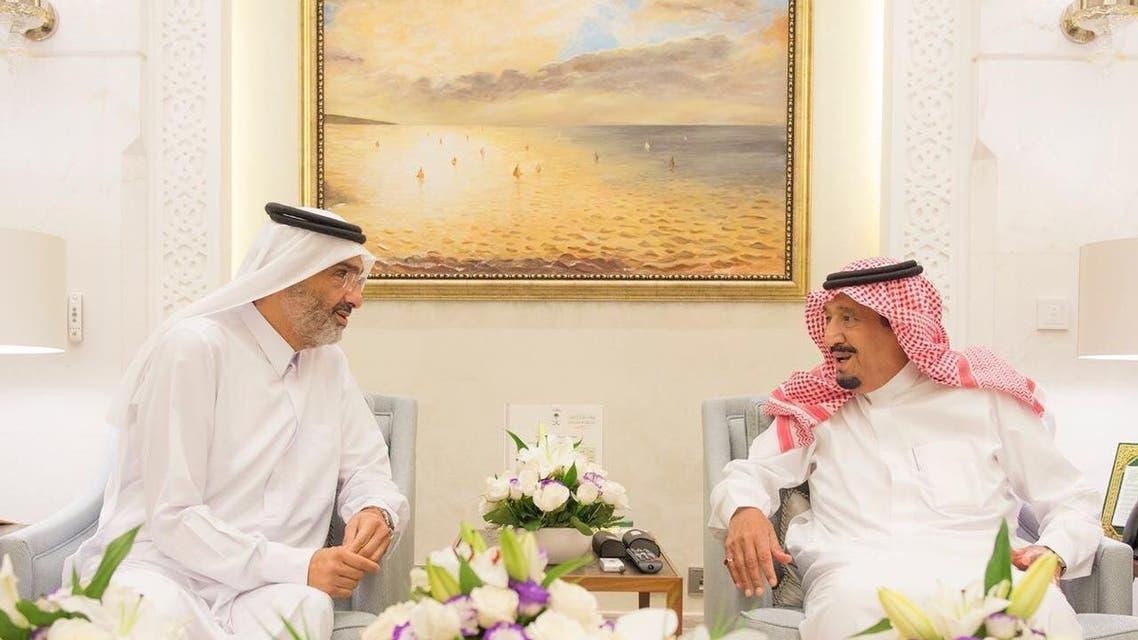 الملك سلمان يستقبل الشيخ عبدالله بن علي ال ثاني