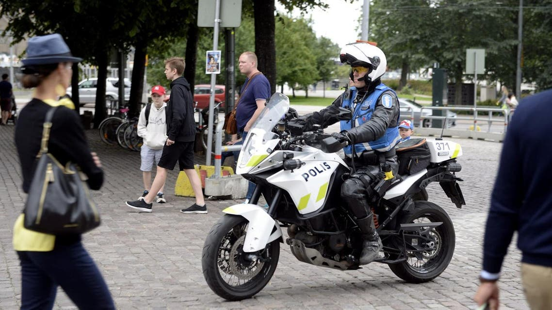 Finnish police patrols on motorbike after stabbings in Turku, in Central Helsinki, on August 18, 2017. (Reuters)