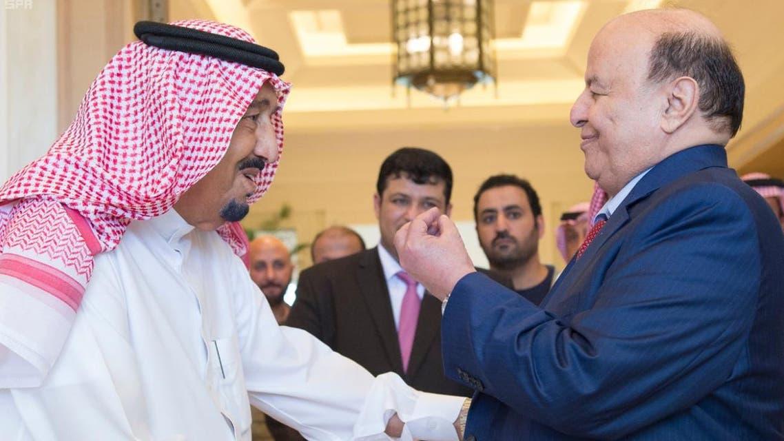 الملك سلمان يستقبل الرئيس اليمني في مقر إقامته بالمغرب