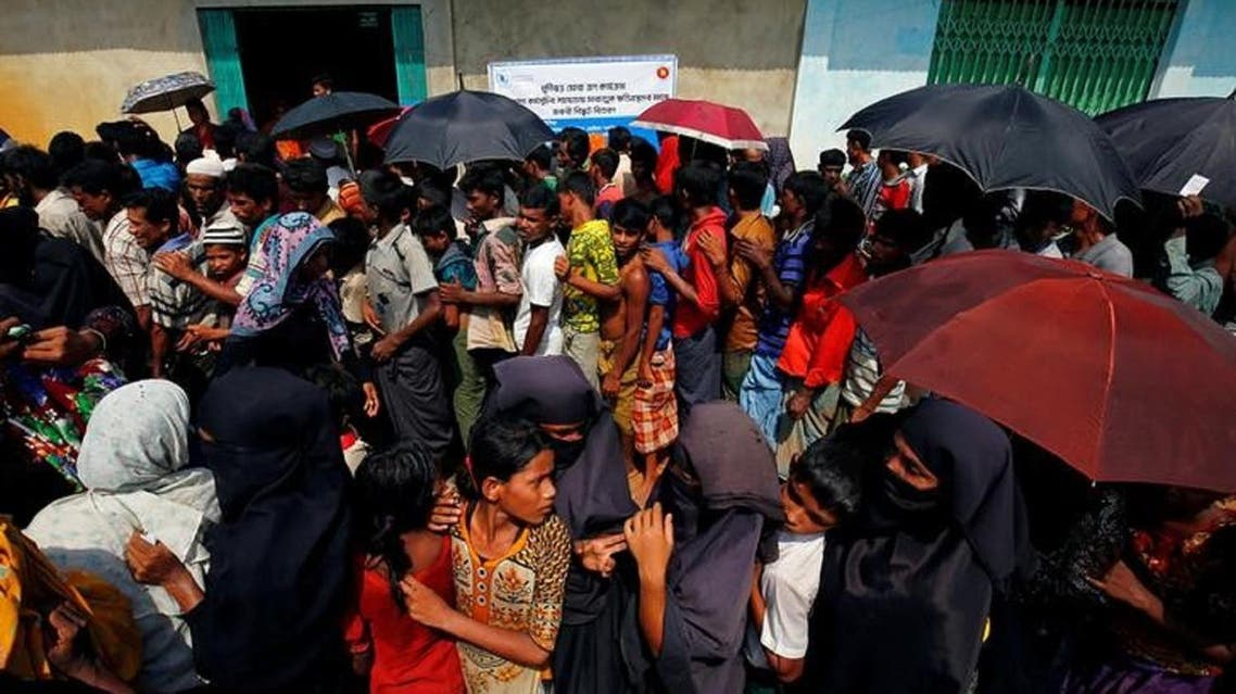 Rohingya refugees congregate for relief supplies from a temporary camp in Cox-Bazar, Bangladesh. (Reuters)