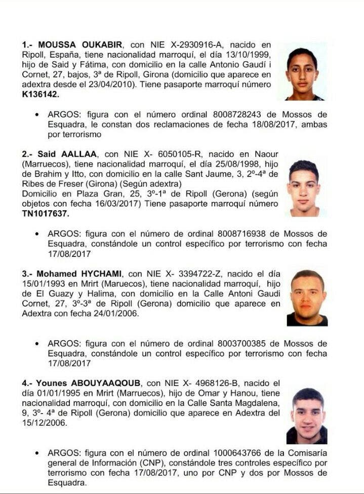 معلومات عن المفذين نشرتها شرطة كاتالونيا (فرانس برس)