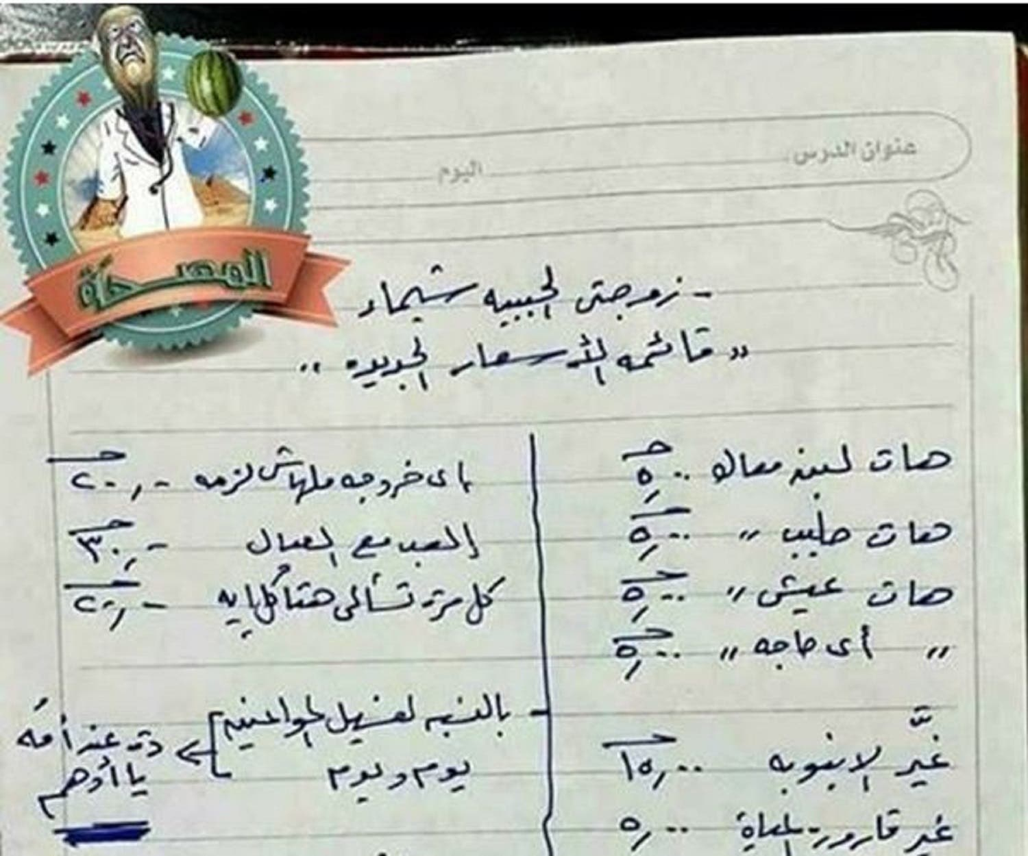 Egyptian husband's price list for household work (Supplied)