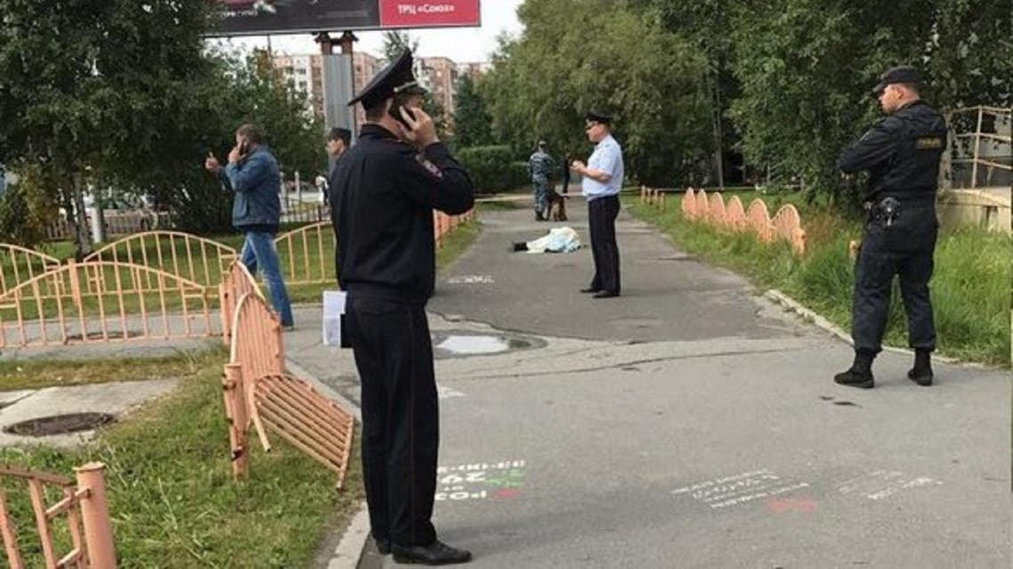 Scene of a stabbing spree incident in the Siberian city of Surgut, Russia. (Twitter)