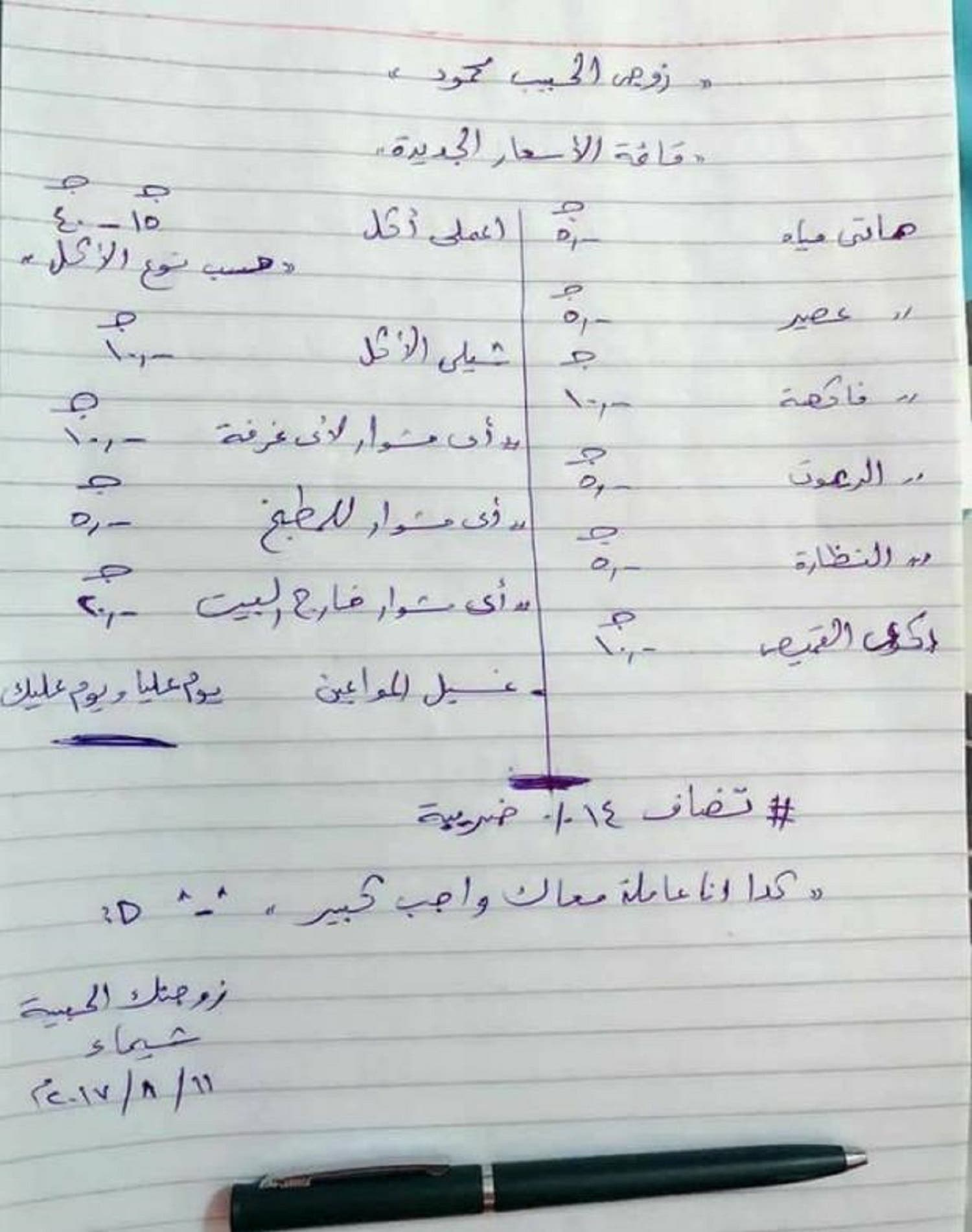 Egyptian wife's price list for household work (Supplied)