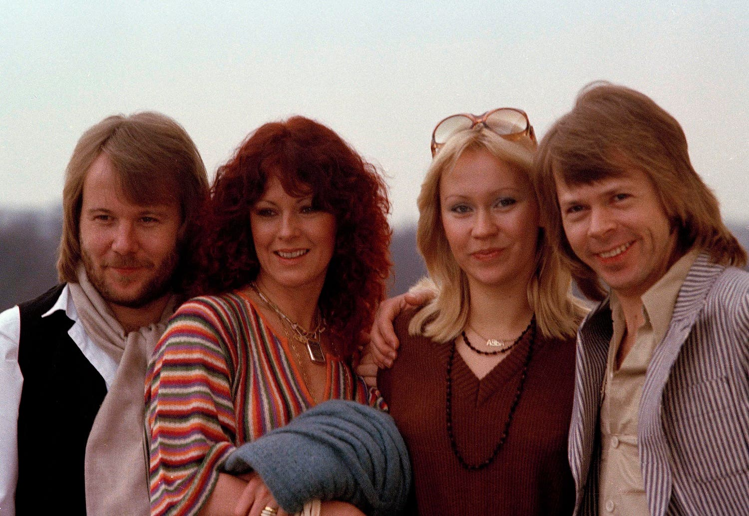 """The Swedish pop group pose together in London, where they will be attending the premiere of their first movie """"ABBA - The Movie,"""" Feb. 16, 1978. (AP)"""