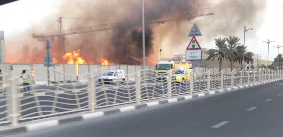 Dubai Civil Defense puts put out fire at Jumeirah construction site. (Dubai Media office)