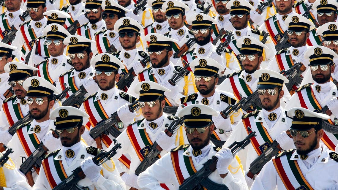 Members of the Iranian Revolutionary Guard Navy march during a parade to commemorate the anniversary of the Iran-Iraq war (1980-88), in Tehran on September 22, 2011. (Reuters)