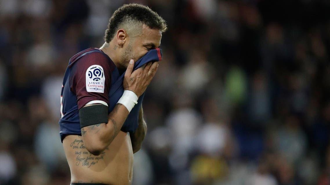 Paris Saint-Germain's Brazilian forward Neymar reacts during the French L1 football match Paris Saint-Germain (PSG) vs Toulouse FC (TFC) at the Parc des Princes stadium in Paris on August 20, 2017. (AFP)