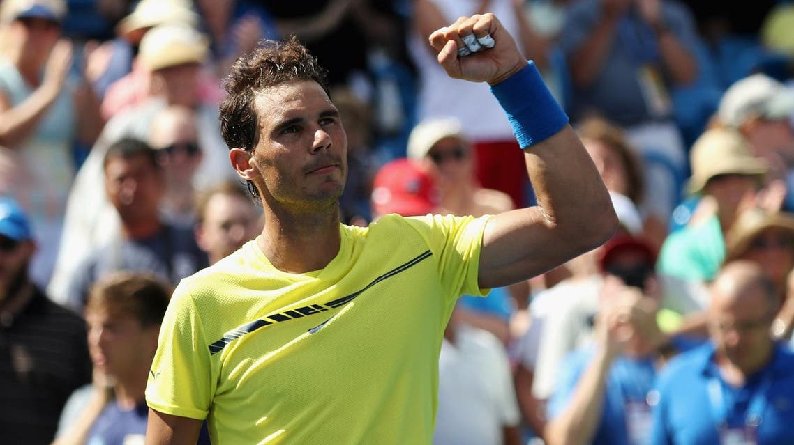 MASON, OH - AUGUST 18: Rafael Nadal of Spain celebrates after defeating Albert Ramos-Vinolas of Spain during Day 7 of the Western and Southern Open at the Linder Family Tennis Center on August 18, 2017 in Mason, Ohio. Rob Carr/Getty Images/AFP