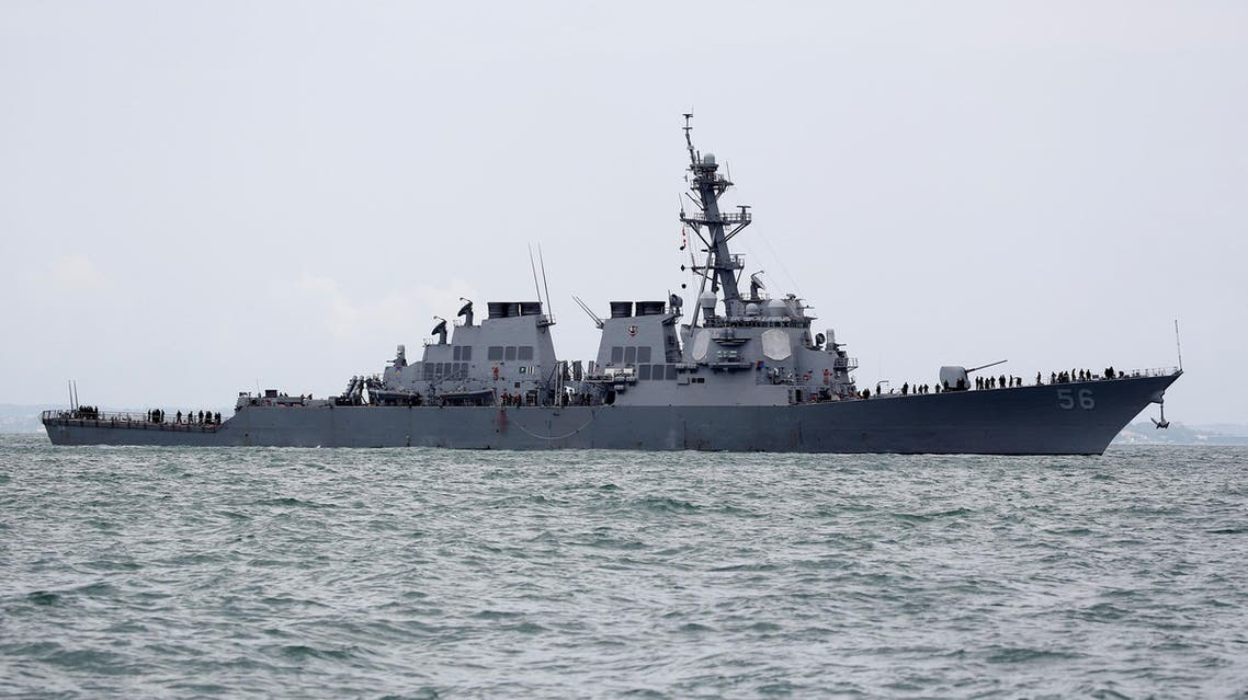 USS JOHN S. MCCAIN المدمرة الأميركية يو إس إس جون مكين بعد اصطدامها في مياه سنغافورة