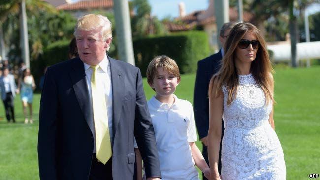 میلانیا و دونالد ترامپ به همراه پسرشان بارون