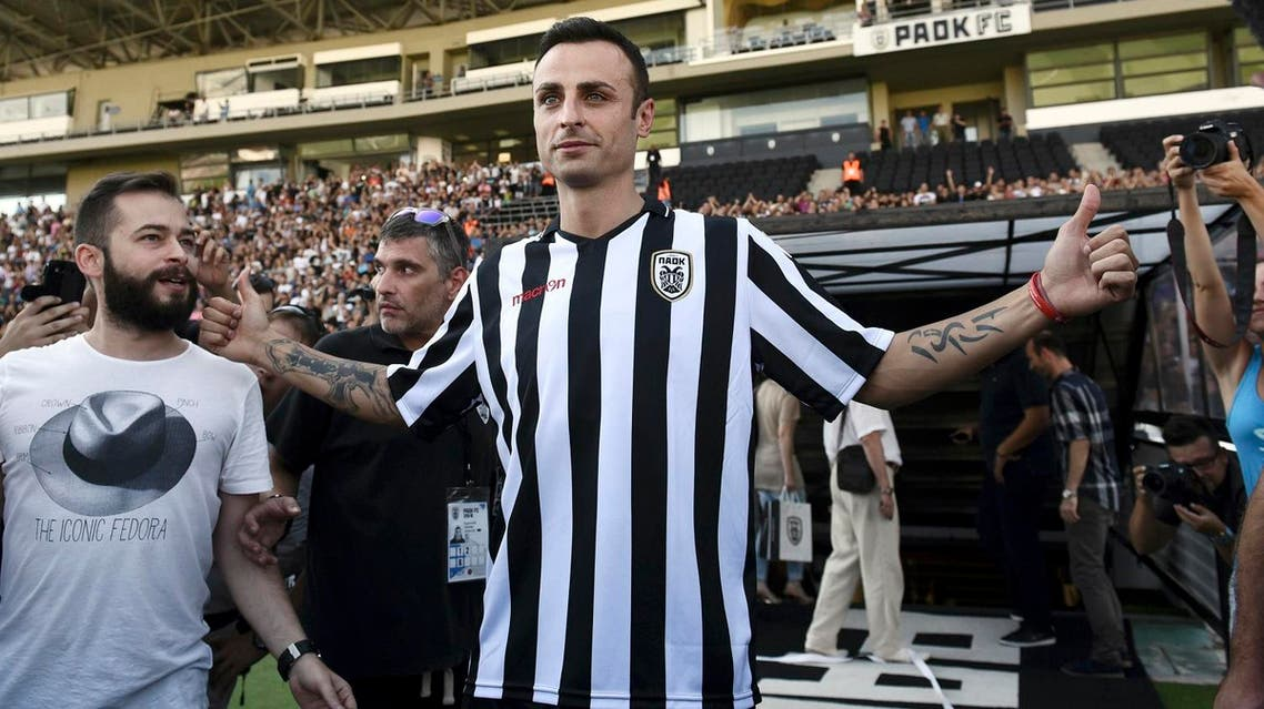 Dimitar Berbatov of Bulgaria arrives for a special reception ceremony at the PAOK club's Toumba stadium in the northern Greek city of Thessaloniki, on Sept. 3, 2015. (AP)