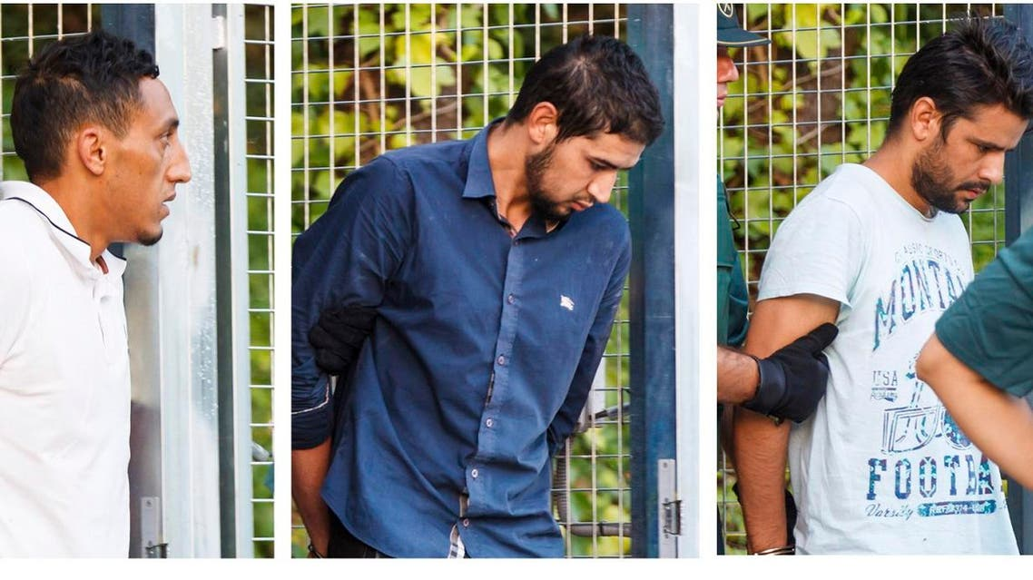 The four men arrested last week for their alleged involvement in the planning or execution of attacks in Barcelona. (AP)