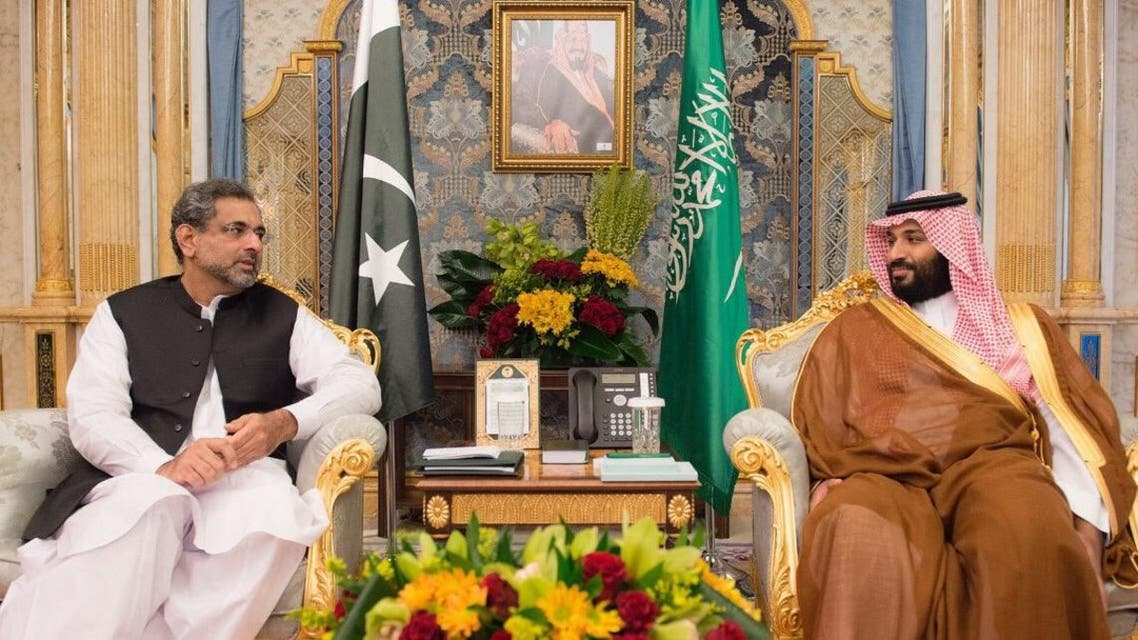 Saudi Arabia's Crown Prince Mohammed bin Salman met on Wednesday the Prime Minister of Pakistan SPA