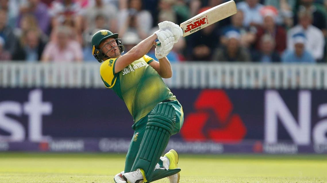 South Africa's AB De Villiers hits a 6 over the stands during the second T20 Blast match in, England. (AP)