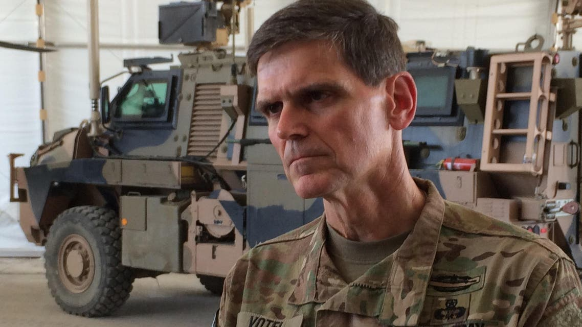 Army Gen. Joseph Votel speaks to reporters at a base in Taji, Iraq, Friday, May 20, 2016, where Iraqi soldiers are being trained by Australian and New Zealand military forces. (AP)