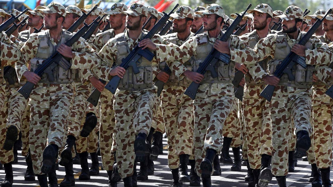 Iranian army troops march during a parade just outside Tehran, Iran, on April 18, 2017. (AP)