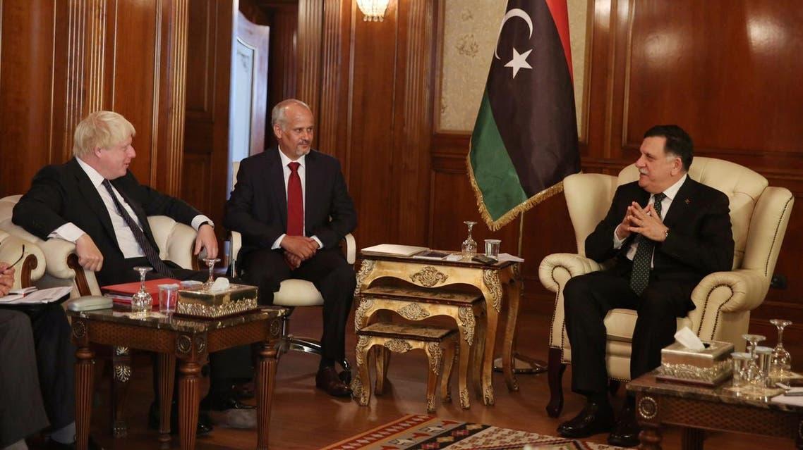 Prime Minister of Libya's GNA Fayez Seraj with Boris Johnson in Tripoli, Libya, August 23, 2017. (Reuters)