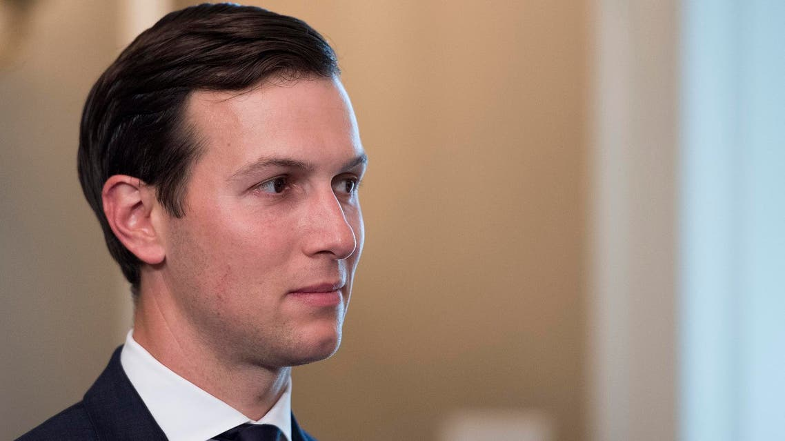 Jared Kushner listens as US President Donald Trump speaks to the press on August 11, 2017, at his Bedminster National Golf Club in New Jersey. (AFP)