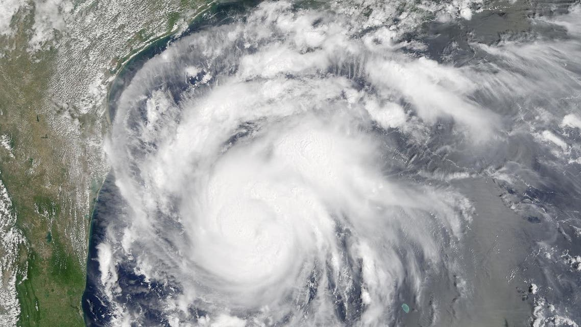 This satellite image provided by NASA on Thursday, Aug. 24, 2017 shows Hurricane Harvey off the Gulf of Mexico. (AP)