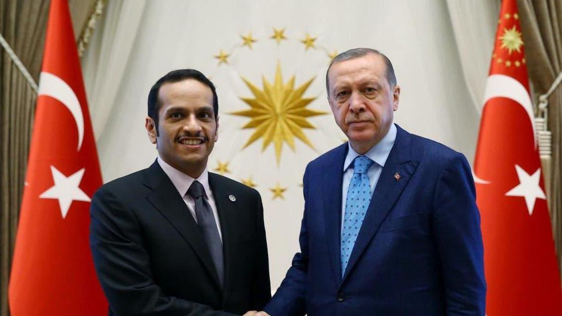 Turkey's President Recep Tayyip Erdogan, right,with Qatar's foreign minister Sheikh Mohammed bin Abdulrahman Al Thani in Ankara, on July 14, 2017. (AP)