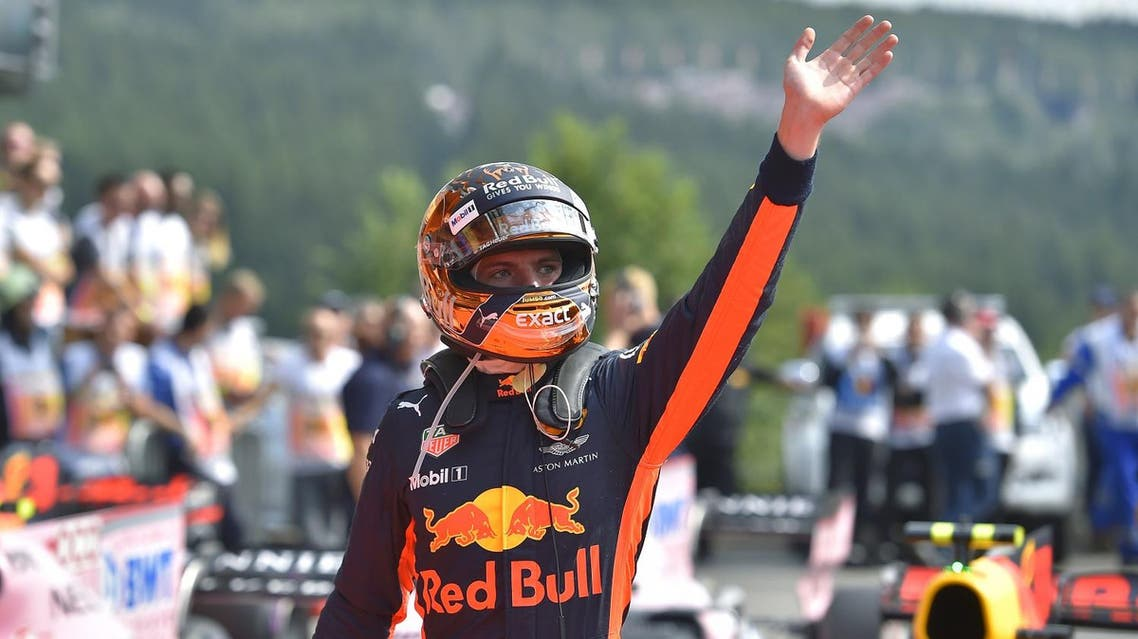 Red Bull's Dutch driver Max Verstappen celebrates after placing fifth in the qualifying session at the Spa-Francorchamps circuit in Spa on August 26, 2017 ahead of the Belgian Formula One Grand Prix. (AFP)