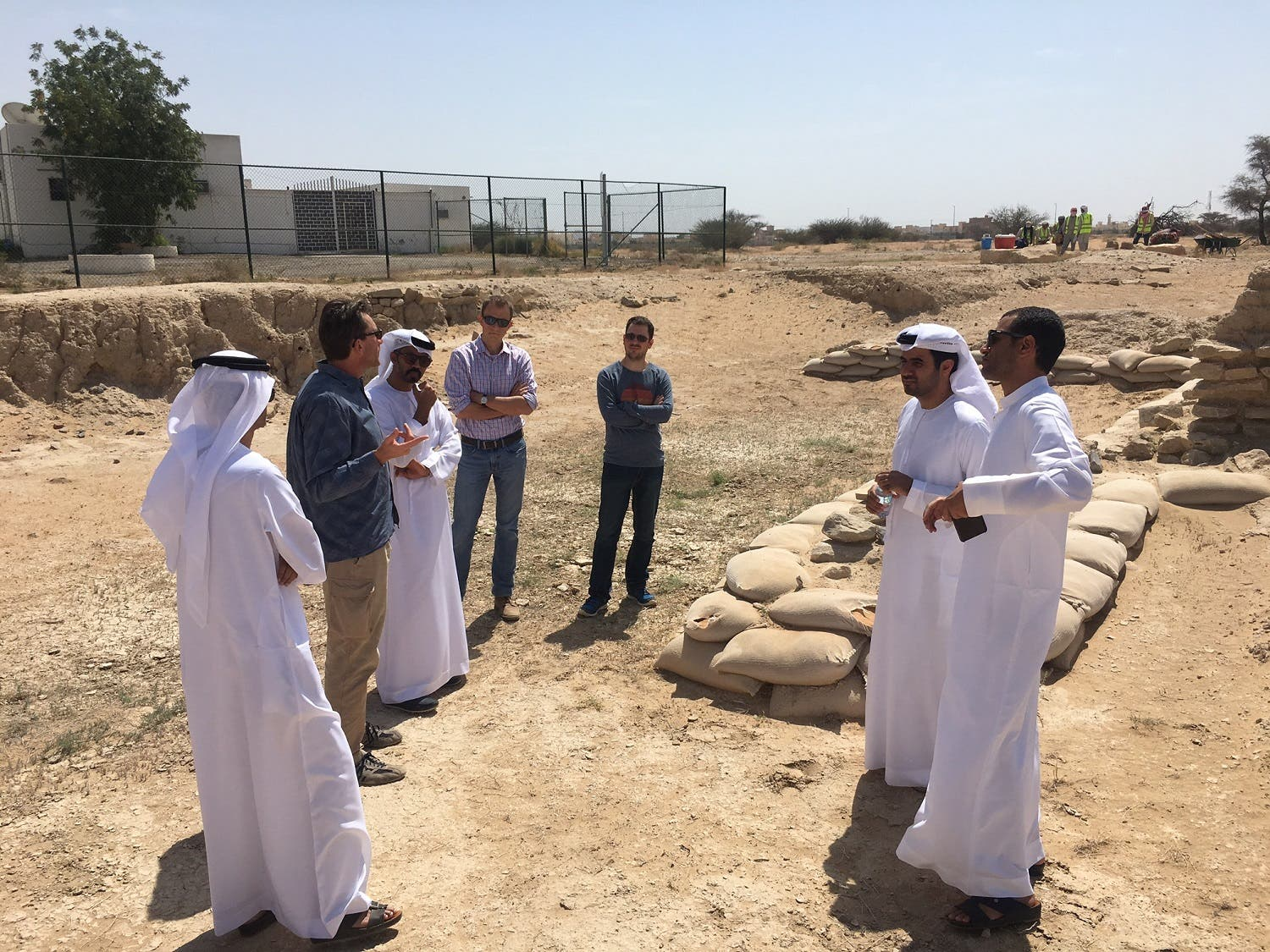 TCA archaeologists and foreign consultants discuss strategies and ideas before the excavation begins. (TCA Abu Dhabi)