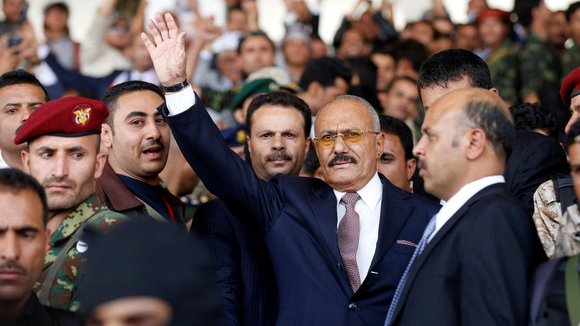 Yemen's former President Ali Abdullah Saleh, gestures to supporters as he arrives to a rally held to mark the 35th anniversary of the establishment of his General People's Congress party in Sanaa, Yemen August 24, 2017. REUTERS/Khaled Abdullah