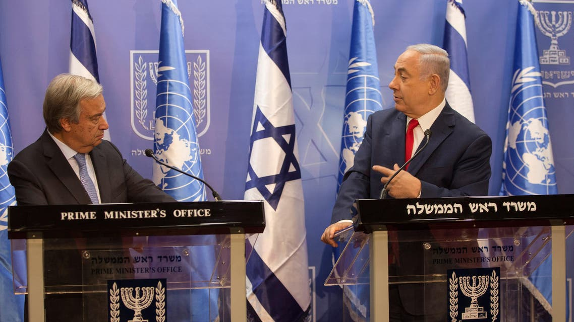 Israeli Prime Minister Benjamin Netanyahu (R) and UN Secretary General Antonio Guterres hold a press conference at the prime minister's office in Jerusalem on August 28, 2017.  Heidi Levine / POOL / AFP