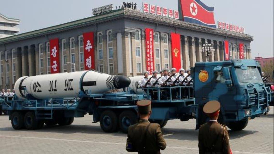 عدد من الصواريخ  الكورية الشمالية خلال عرض عسكري في بيونغ يانغ